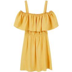 MANGO Off Shoulder Dress (97 PLN) ❤ liked on Polyvore featuring dresses, floral dress, flower print dress, flower pattern dress, slit dress and mango dresses
