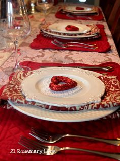 Valentine's Day table setting - sew your own place mats and napkins.