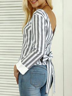 Striped Open Back Bowknot Blouse Cheap Blouses, Blouses For Women, Yellow Off Shoulder Top, Plus Size Fashion For Women, Dress To Impress, Jeans, Blazer, Womens Fashion, Outfits