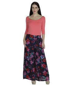 Shopingfever Nevy Blue & Red Floral Printed Georgette Palazzos