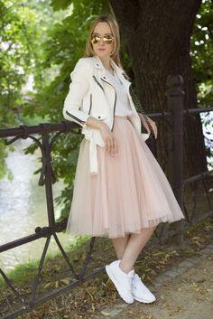 Tulle skirt + Reebok Classic Leather by Sulanovska on Vanity Fair