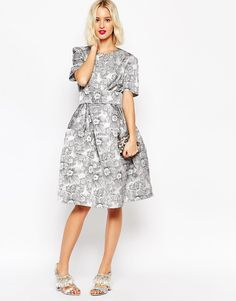 Picture 4 - ASOS - Prom Dress New Year Knee-length floral jacquard with Belt - Black and White