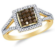Size 7 - 10K Yellow Gold Chocolate Brown & White Round Diamond Halo Circle Engagement Ring - Channel..