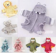 Baby Kids Toddler Girl Boy Animal Cartoon Pattern Bathrobe Towel Cotton w/ Hat #other