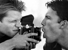 Ben Affleck & Matt Damon with what appears to be a Rolleiflex.