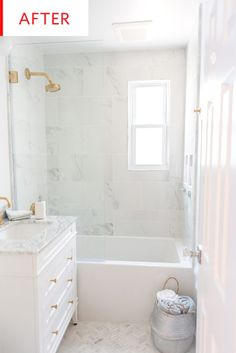Before and After: See a Dark, Damp Bathroom's Carrara Marble-Filled Transformation | Apartment Therapy