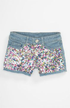 Flowers by Zoe Sequin Denim Shorts (Little Girls) available at Nordstrom