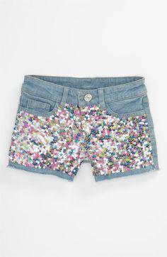 Flowers by Zoe Sequin Denim Shorts (Big Girls) | Nordstrom