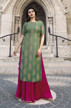 Moss green and rani pink ready made gown. Kameez length is approximately inches. Kameez length (Koti) is approximately inches. Accessories shown in the image is not the part of product. Silk Kurti Designs, Kurti Designs Party Wear, Blouse Designs, Dress Designs, Western Dresses, Indian Dresses, Indian Outfits, Party Wear Maxi Dresses, Indian Designer Wear