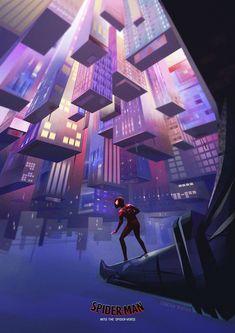 Spider-Man: Into the Spider-Verse Art by Chelsea Blecha Miles Morales Spiderman, Miles Spiderman, Man Wallpaper, Black Spider, Purple Art, Spiderman Art, Spider Verse, Marvel Art, Marvel Cinematic Universe