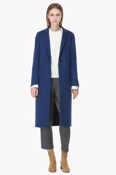 Thin lapel wool blend long coat