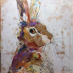 Rabbit Collage Painting by Elizabeth St. Hilaire Nelson