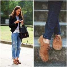 Outfits con zapatos Oxford: Aprende a usar de mil formas los zapatos Oxford Brown Shoes Outfit, Oxford Shoes Outfit, Women Oxford Shoes, Casual Shoes, Dress Shoes, High Heel Pumps, Pumps Heels, Look Oxford, Oxfords