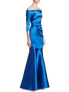 Theia Off-The-Shoulder Mermaid Gown - Cobalt 2