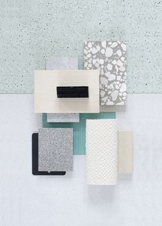 Material Mood Of The Week ~ Spring Vibes & Soft Colors #terrazzo #marble #textiles #sandy #spring #colors #interior #interiordesign #architecture #aluminium #details #black #mintgreen #inspiration #moodboard #materials #studiodavidthulstrup