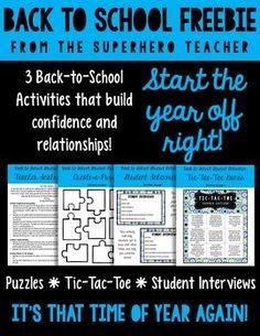 Back-to-School Freebie from The SuperHERO Teacher