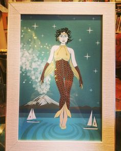 """Fuelled By Female on Instagram: """"She Walks on Water by Daniel Orlick. Purchased by a client as a 50th #birthday #gift. Measuring 8 x 12, it's sits perfectly in this silver-…"""" Walk On Water, 50th Birthday, Walks, Female, Silver, Gifts, Painting, Instagram, Art"""
