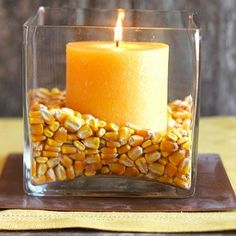 Indian corn and candle centerpiece. by olive