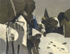 Keith Vaughan (1912-1977). Village under snow, 1955, oil on canvas, 14 x 18 in.