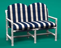 Classic Style PVC Patio Furniture with Cushions. All our PVC furniture is made with furniture-grade pipe that is UV protected, and has a high-gloss finish. Pvc Patio Furniture, Pallet Furniture Plans, Rustic Living Room Furniture, Trendy Furniture, Colorful Furniture, Sofa Furniture, Furniture Makeover, Outdoor Deck Decorating, Diy Sofa