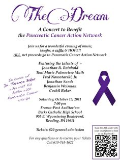 AMAZING benefit and fundraising concert (With a raffle!!) for Pancreatic Cancer Action Network. Happening on October 15th in Reading, PA.  Pancreatic Cancer has affected me personally, when my daddy passed away from it.  Come check it out!