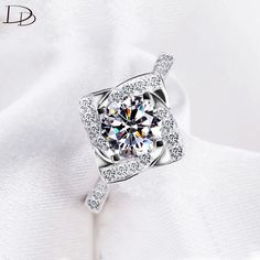 fashion rings for women 585 white gold plated ring wedding engagement Love CZ Diamond jewelry bague female anillos gifts DD095