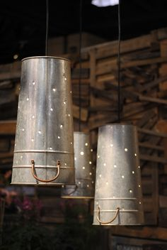 Upside down buckets with holes that allow the light to shine through make fun light fixtures! (Check out more ideas from the Philly Flower Show too) Deck Lighting, Home Lighting, Lighting Ideas, Deco Dyi, Philadelphia Flower Show, Bucket Light, Sleeping Porch, Outdoor Light Fixtures, Decoration