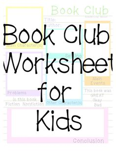 Sowdering About: Book Club Worksheet