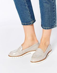 Dune | Dune Gleat Grey Patent Chunky Loafer Flat Shoes at ASOS