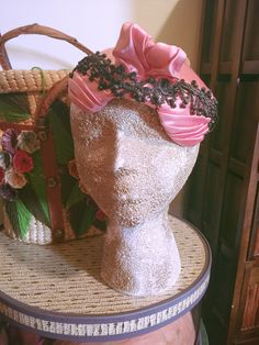 1940s Pink Satin Hat. A showstopper! From personal collection. Green Dragon Lady Vintage