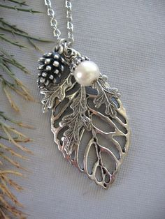 Leaf Necklace Leaf Jewelry Oak Leaf Silver Leaf by CharmedValley, $25.00