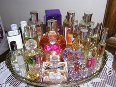 Perfume Display on Mirrored tray
