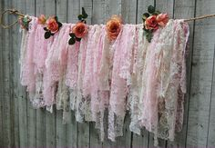Shabby chic lace garland -- would love to do this with sage & lilac --- just as an added touch to curtains ...