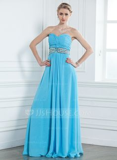 A-Line/Princess Sweetheart Floor-Length Chiffon Prom Dress With Ruffle Beading (018004794)