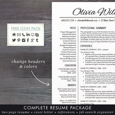 Education Resume Template CV Template for Word Mac or PC