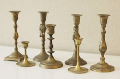 Set of 7 Mid Century Vintage Solid Brass Candle Holders  42+