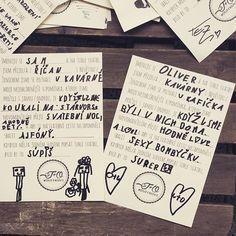 Vyrobit na svatbu tyhle dotazníky byl božskej nápad. Včera večer jsme se při čtení hrozně nasmáli. Vítězem jsou kluci našich kavárníků, ty to fakt vychytali ❤️#duffkovi
