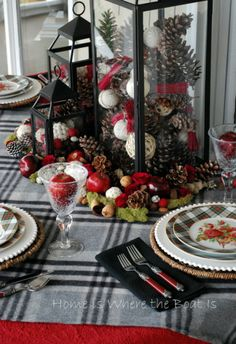 I gathered some plaid, some pine cones, and a few pommes ~ apples :) to bring a little color to the table, surrounded by a grey & dreary landscape. Cold & rainy weather has me reaching for… Christmas Table Settings, Christmas Tablescapes, Christmas Table Decorations, Christmas Tabletop, Lantern Centerpieces, Holiday Centerpieces, Lanterns Decor, Merry Christmas To All, Christmas Holidays