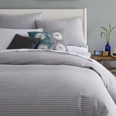 Tile Style Duvet Cover, Queen, Aqua or Feather Grey.  Slightly textured cotton.  $89