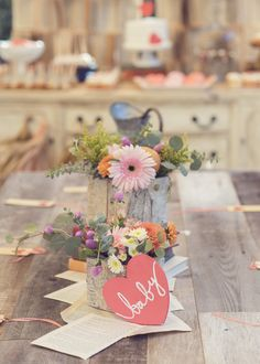 Baby Love Story :: Baby Shower Theme with DIY centerpiences via Thoughtfully Simple
