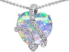 Amazon.com: Original Star K (tm) Large 15mm Heart Shape Created Opal Love Pendant in 925 Sterling Silver: Star K: Jewelry