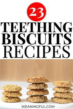Whether you're looking for banana, applesauce, peanut butter or cereal teething biscuits, this list with 23 recipes has them all. Great for babies, toddlers and sore gums. Healthy Baby Food, Healthy Meals For Kids, Meals For One, Kids Meals, Healthy Recipes, Baby Meals, Baby First Foods, Baby Finger Foods, Baby Foods