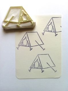 camping tent rubber stamp. hand carved rubber by talktothesun