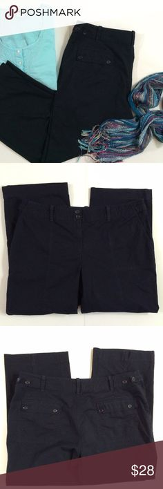 """Talbots Navy Cropped Pants So Cute... A little wider leg all the way to cuff they have two button flap back pockets and two button strap around each side of pant one just decorative. Deep front pockets and Two buttons and zipper closure with the waist measuring about 18-18.5"""" across laying flat and an inseam of 25.5"""". 10.5"""" rise...Bundle 2 to Save 15% plus ⚡️ Talbots Pants Ankle & Cropped"""
