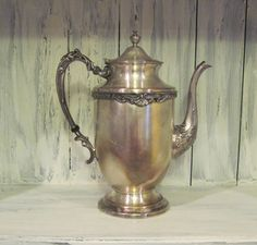 Vintage silver over copper tea pot antique by HTArtcraftAndVintage, $49.99