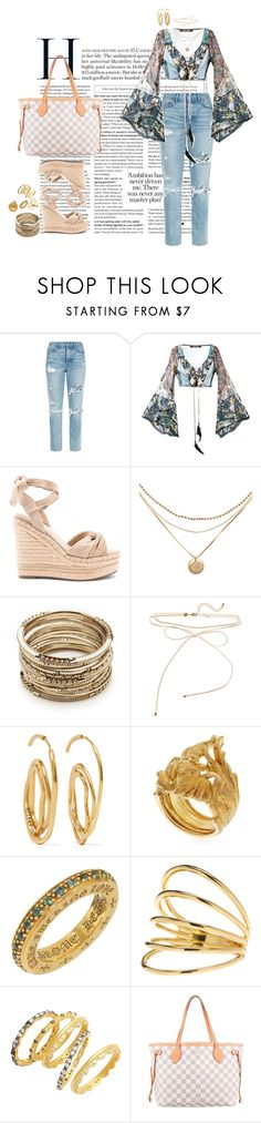 """Sin título #48"" by emmaabou ❤ liked on Polyvore featuring GRLFRND, Roberto Cavalli, Kendall + Kylie, Sole Society, E L L E R Y, Vanzi, Chrome Hearts, Gorjana, Freida Rothman and Louis Vuitton"
