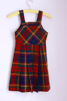 Vintage girls dress plaid jumper size 6 size 7 by fuzzymama on Etsy