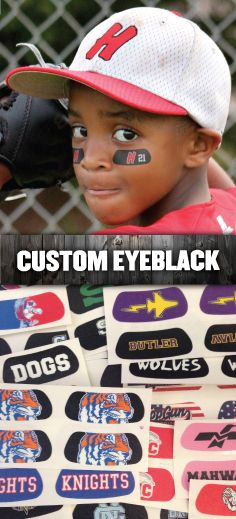 We've got you covered with Custom EyeBlack! You dream it, we design it - almost any logo, design, text, or idea! Starting at $1.50 a pair (minimum 50 pairs)