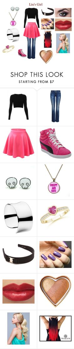 """""""Liu's Girl"""" by pastagirl ❤ liked on Polyvore featuring Topshop, ONLY, Puma, Georg Jensen, Salvatore Ferragamo and Too Faced Cosmetics"""