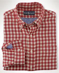 Polo Ralph Lauren Shirt, Long Sleeved Custom Fit Gingham Shirt - Shirts -  Men -